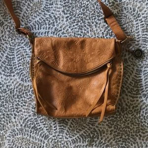 "Messenger style tan/brown leather purse ""the sak"""
